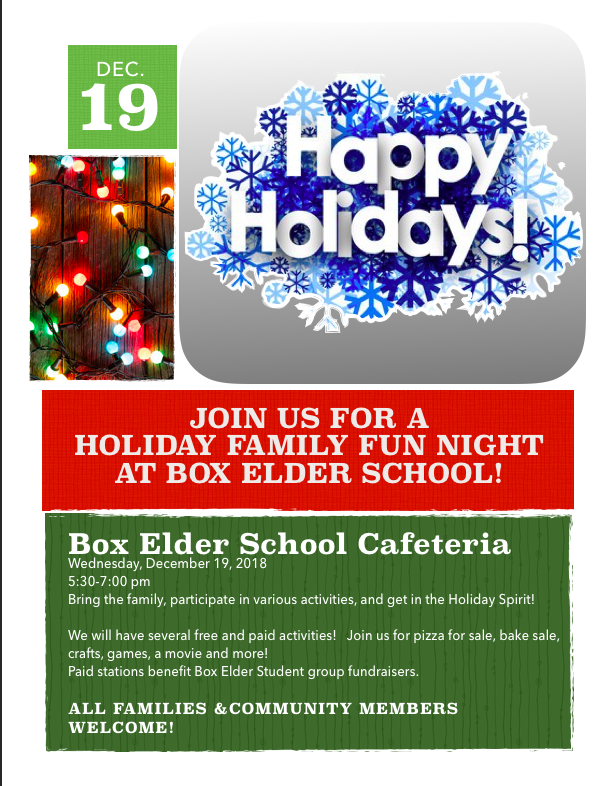 Box Elder Schools Holiday Family Fun Night